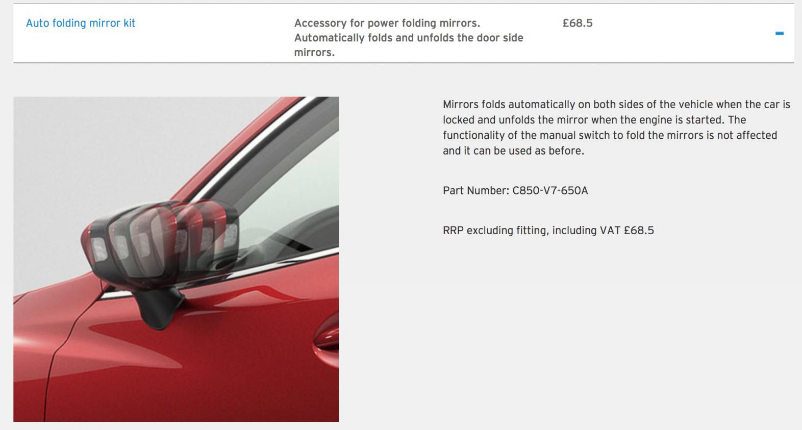Genuine Mazda 2 2015 onwards Auto Folding Mirror Kit C850-V7-650A